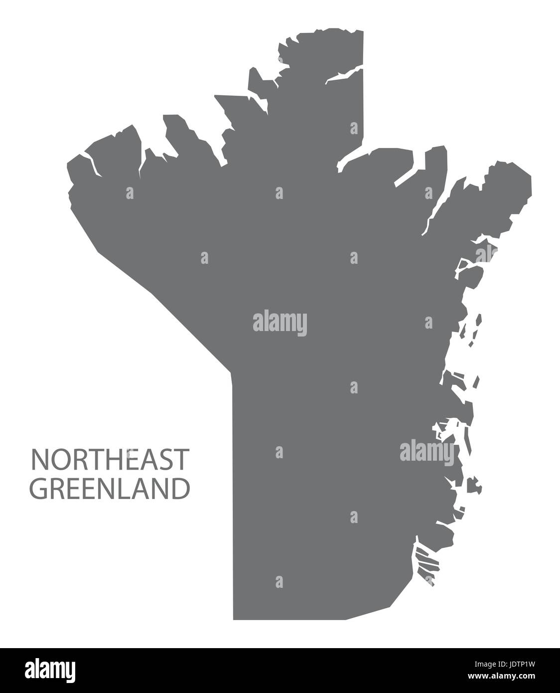 Northeast Greenland map grey illustration silhouette - Stock Vector