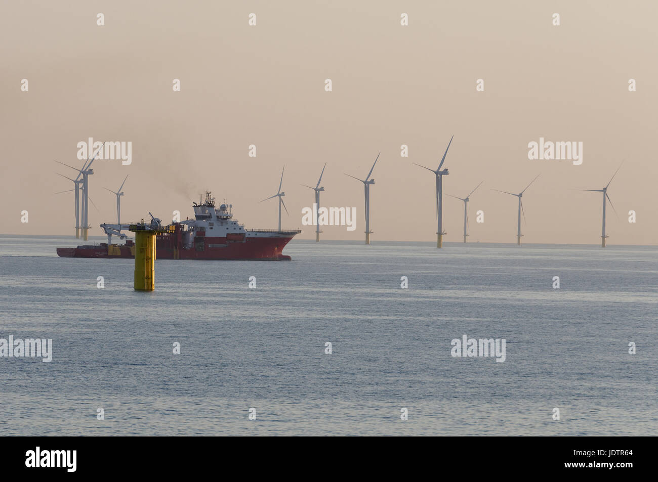 The Cable Lay Vessel Fugro Symphony at the Rampion Offshore Windfarm installing Inter-Array cables in 2017 - Stock Image