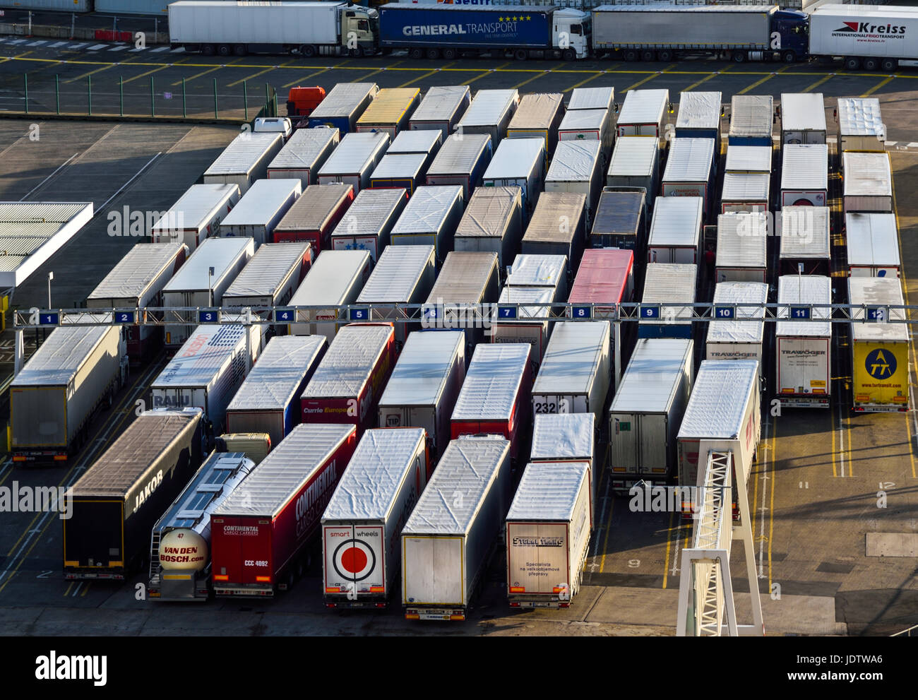 Lorries queing for a ferry at Dover Docks, Kent, UK. Stock Photo