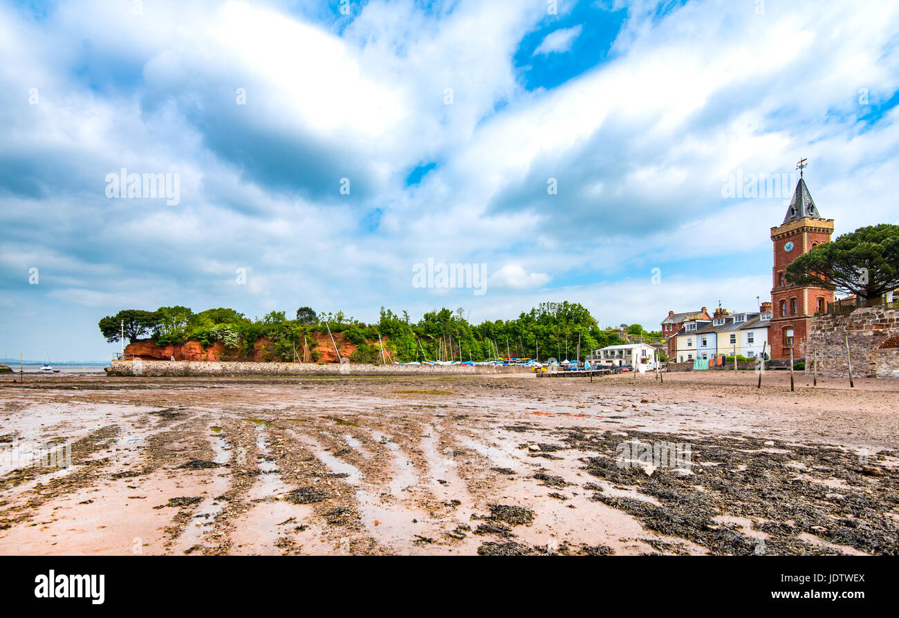 Panoramic view of Lympstone, showing Peter's Tower and Darling's Rock. - Stock Image