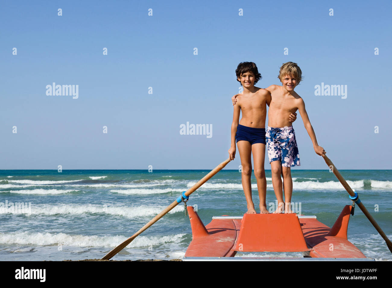 Two young boys on a nautical vessel - Stock Image