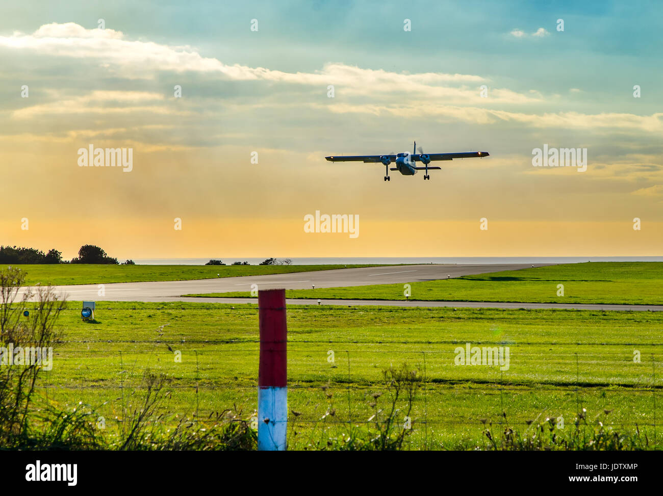 Britten Norman Islander aircraft departing Lands End Airport, Cornwall. - Stock Image