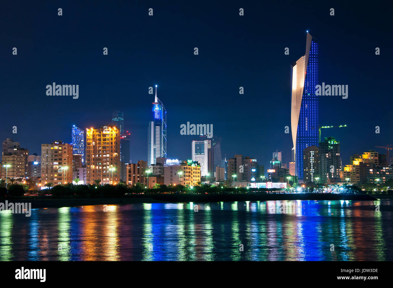 Kuwait City skyline reflected in water - Stock Image
