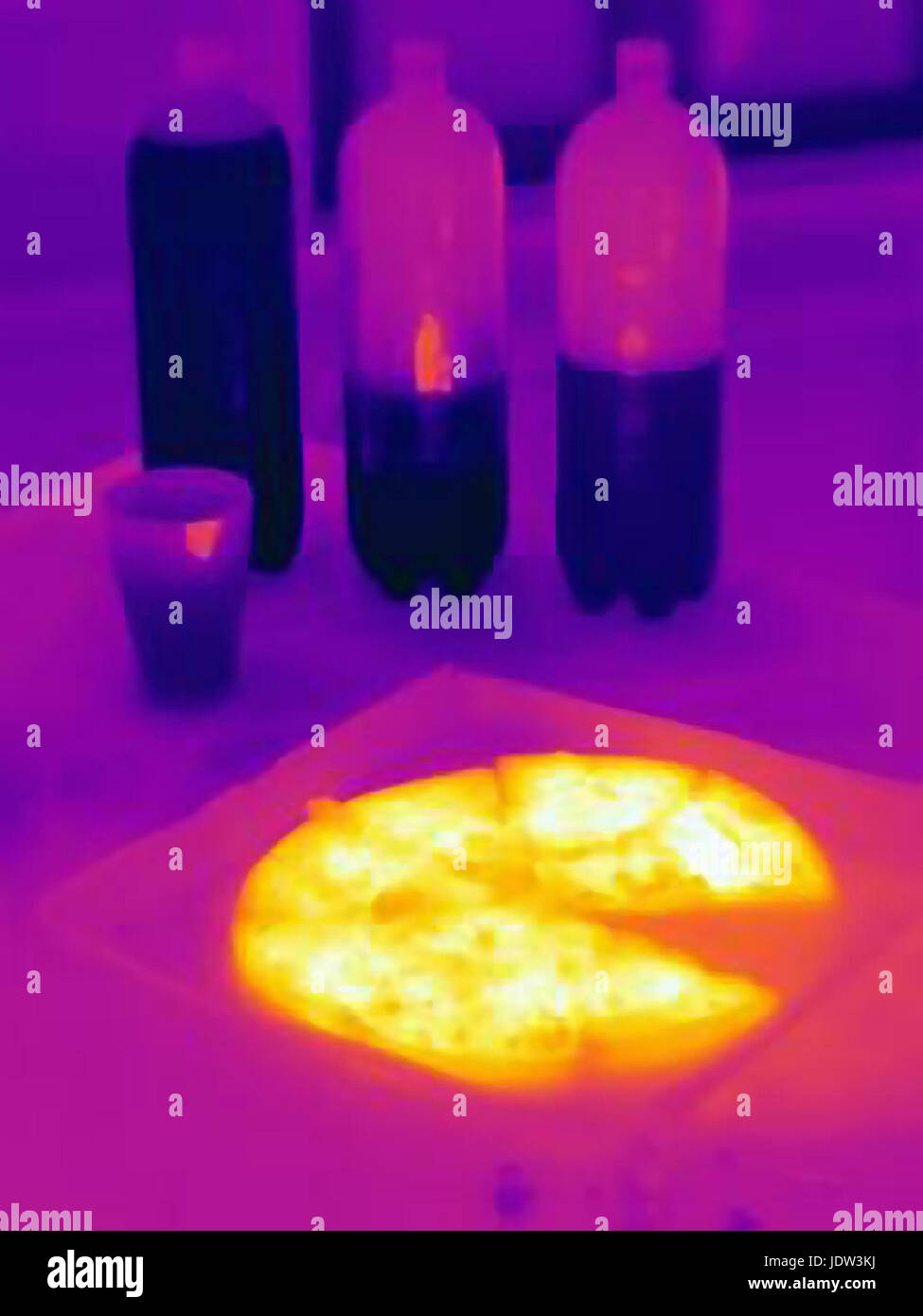 Thermal image of pizza and sodas - Stock Image