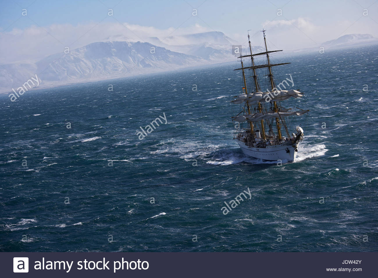 Traditional boat sailing on ocean, German Navy sail boat 'Gorch Fock' in waters close to Reykjavik, Iceland - Stock Image