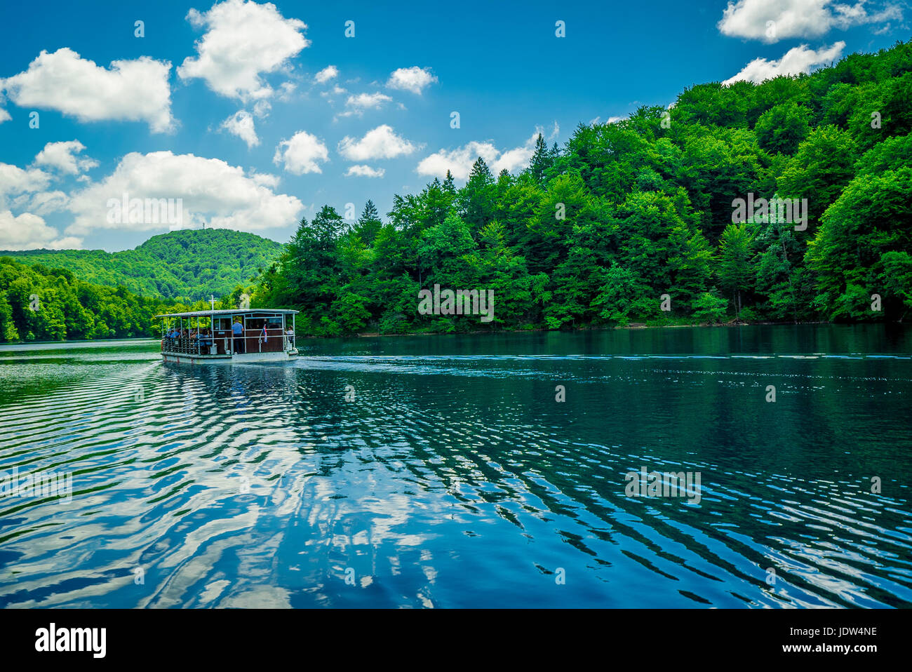 The largest lake at Plitvice Lakes National Park connects the upper and lower lakes - Stock Image