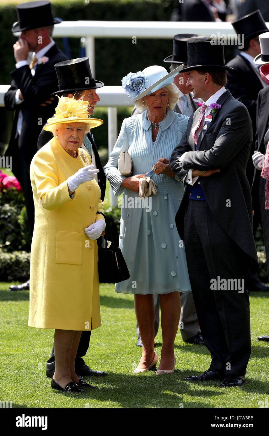 Her Majesty The Queen (left), The Duchess of Cornwall (centre) and Johnny Weatherby (right) during day two of Royal - Stock Image