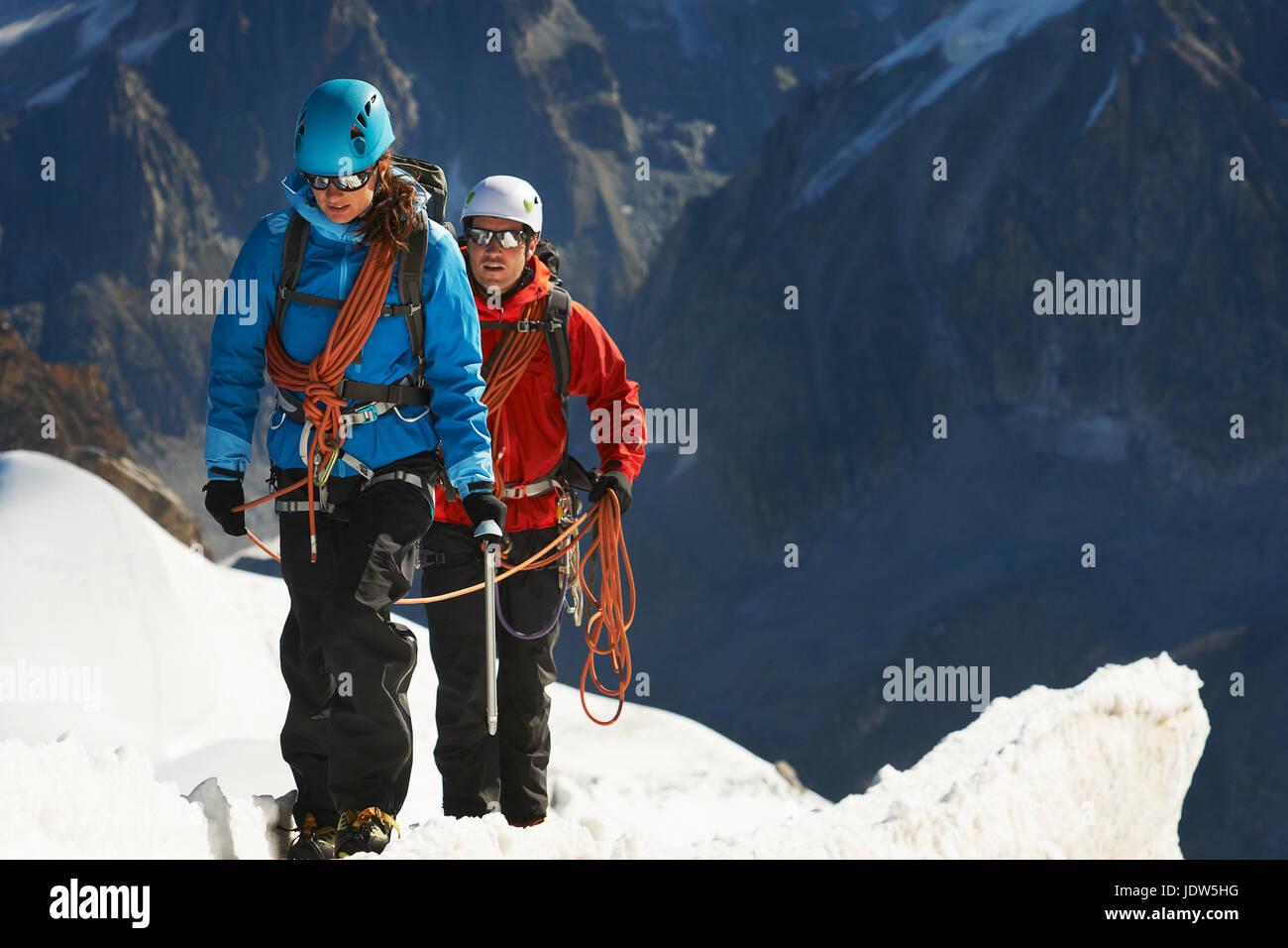 Mountaineers on mountain, Chamonix, Haute Savoie, France - Stock Image