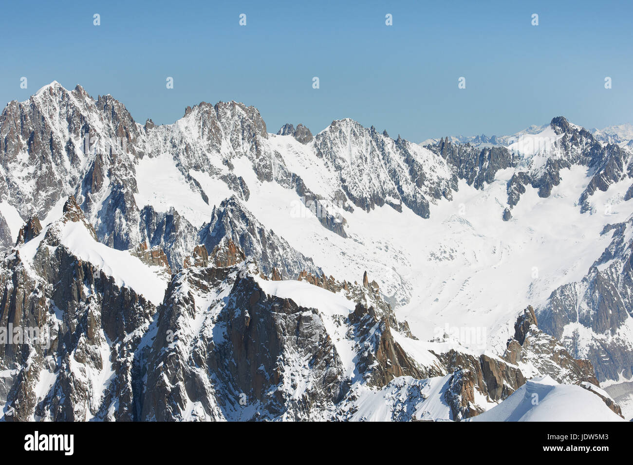 Snowy mountain scene, Chamonix, France - Stock Image