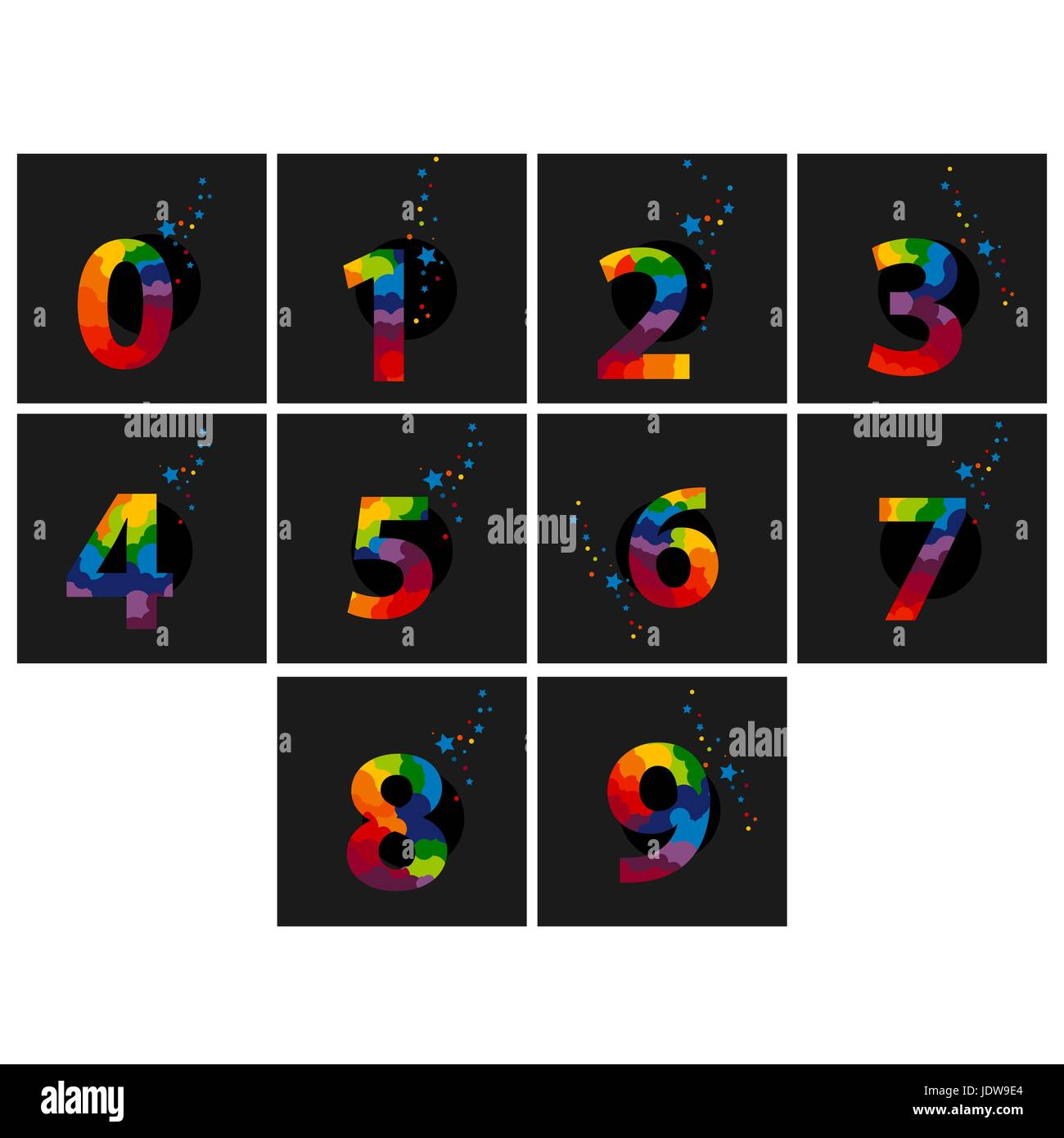 Colored Numerical digit. Holiday and party. - Stock Image
