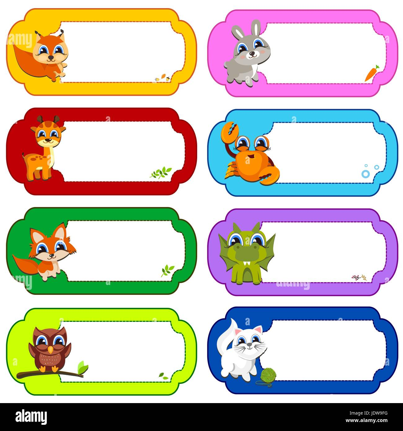 Illustration of many animals in a colored frames. Color vector Stock ...