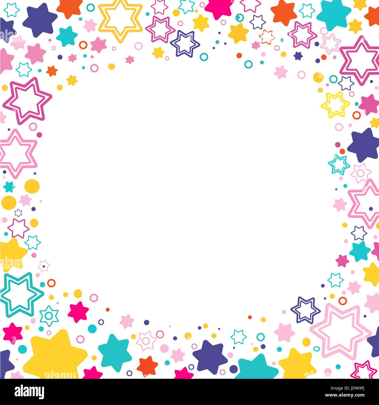 Vector square frame with colored stars David on the white background, sparkles colored symbols - star glitter, stellar - Stock Vector