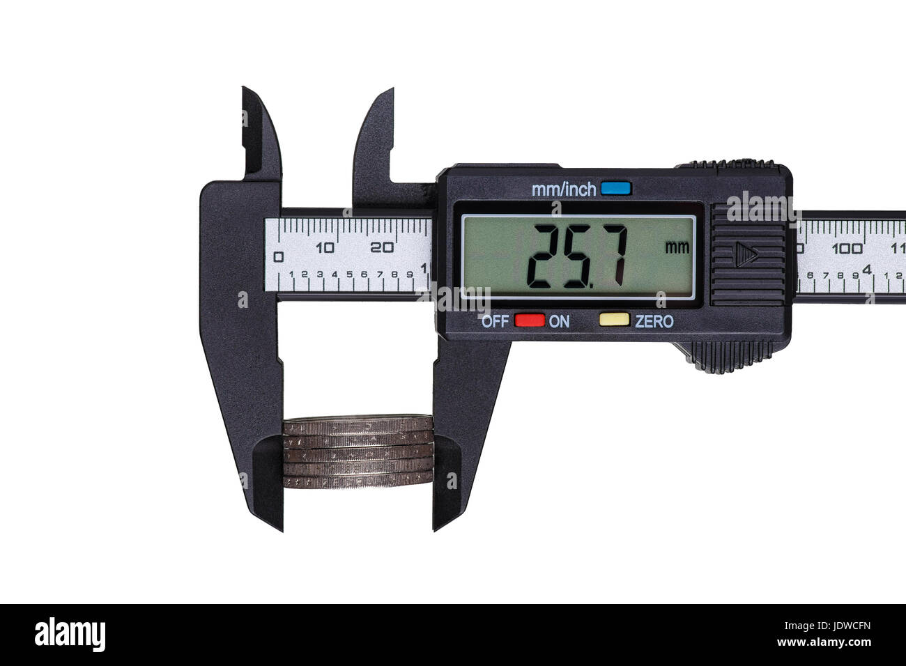 Digital caliper measures the diameter of euro coins. Objects isolated on white background. - Stock Image