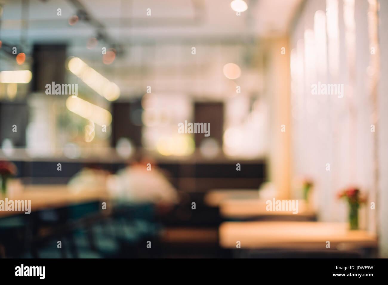 Blurred background of stylish cafe. - Stock Image
