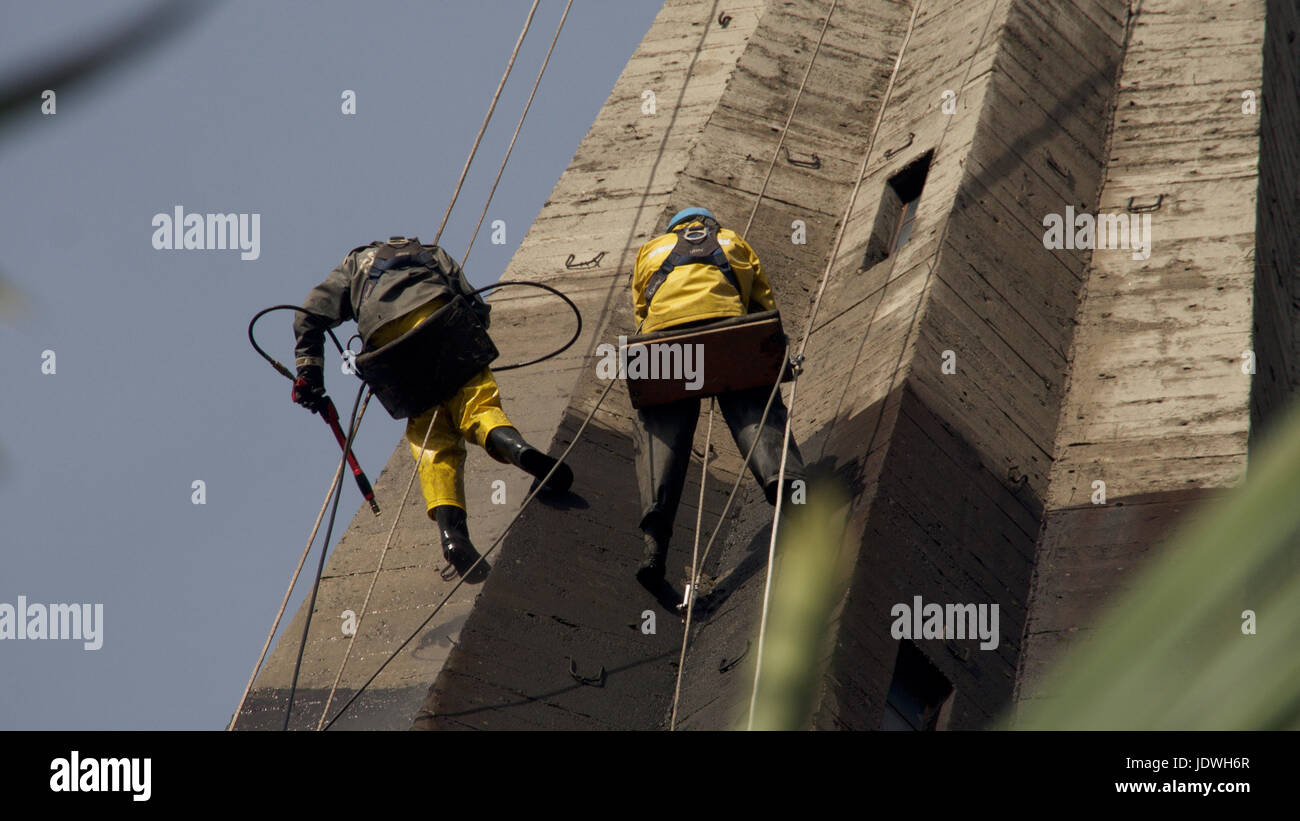 Pressure Cleaning The Cathedral - Stock Image