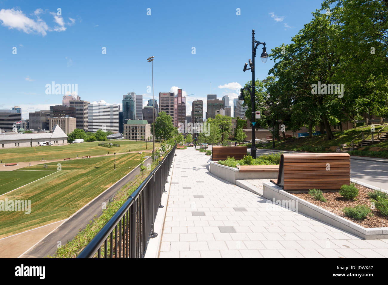 Montreal's 'Promenade Fleuve-Montagne' is a pedestrian walkway from Mount Royal to St Lawrence River - Stock Image