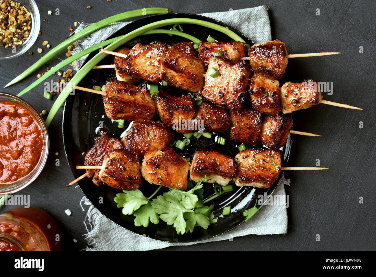 Pork kebabs, bbq meat on plate, top view - Stock Image