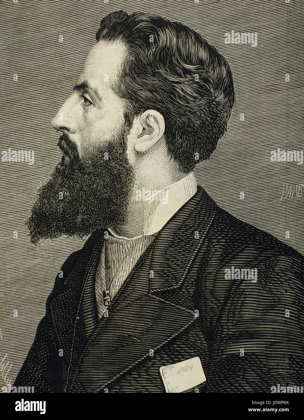 Alejandro Pidal y Mon (1846-1913). Spanish politician and academician. Portrait. Engraving by Paris. 'La Ilustracion - Stock Image