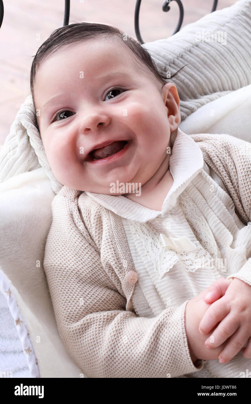 Baby laughing - Stock Image