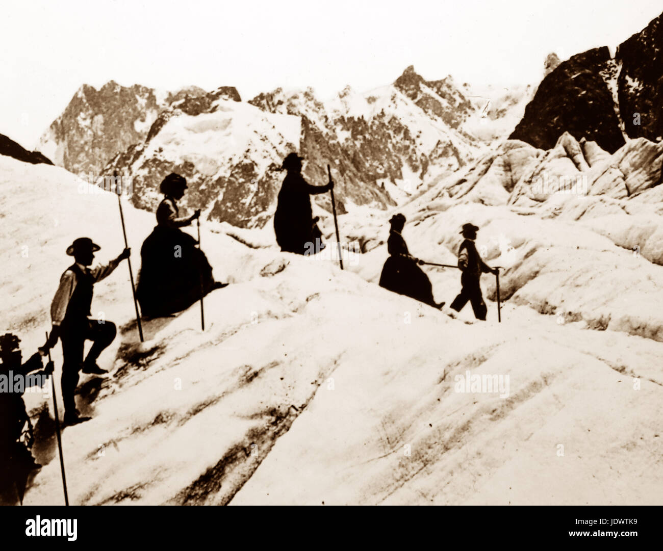 Climbers (tourists) on Mont Blanc, Victorian period - Stock Image