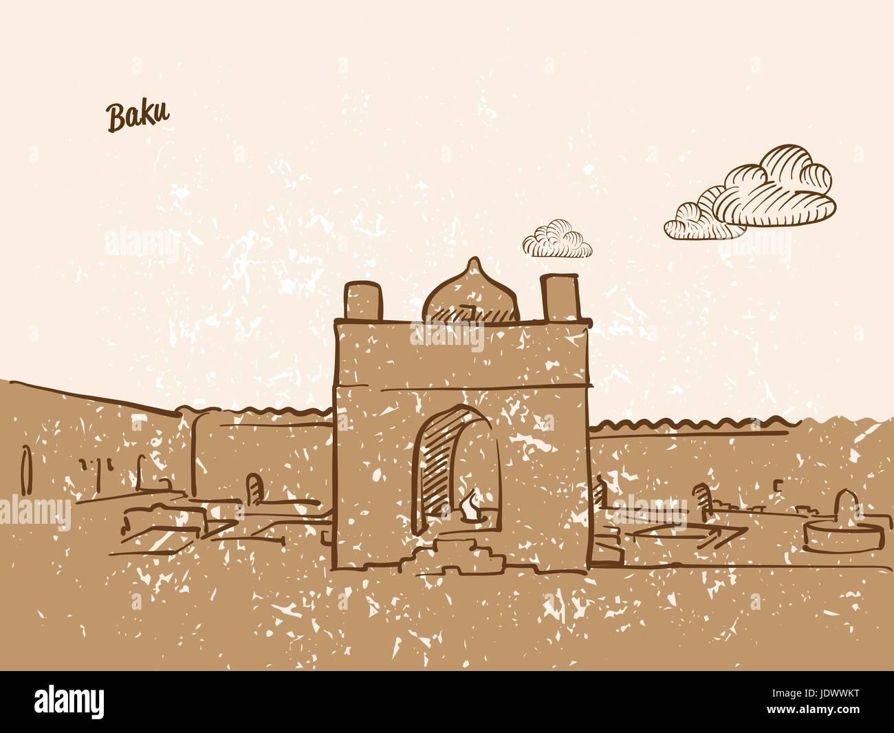 Baku, Azerbaijan, Greeting Card, hand drawn image, famous european capital, vintage style, vector Illustration - Stock Vector