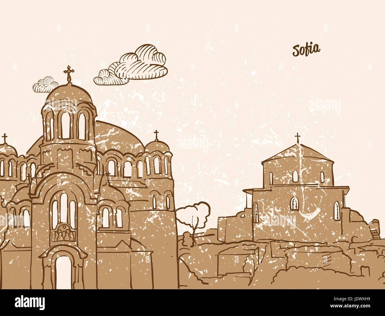 Sofia, Bulgaria, Greeting Card, hand drawn image, famous european capital, vintage style, vector Illustration - Stock Vector