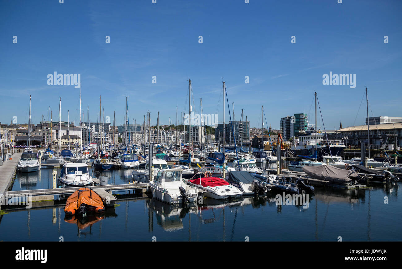 View across West Pier, part of the Barbican Wharves and Sutton Harbour section of Plymouth Harbour - Stock Image