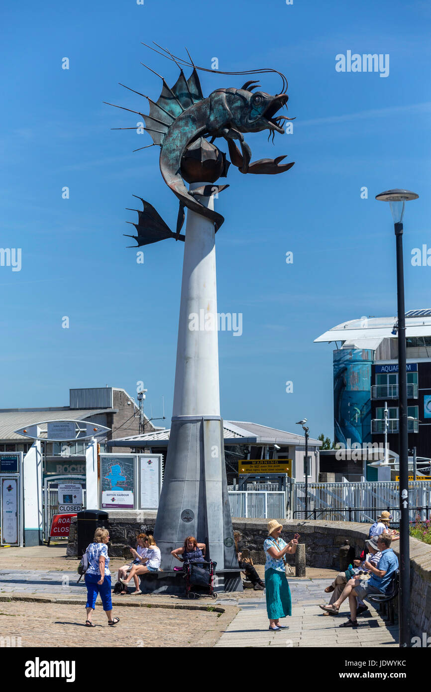 The Barbican Prawn sculpture, beside the Mayflower Styeps in Plymouth Harbour - a metal work creation by Brian Fell - Stock Image