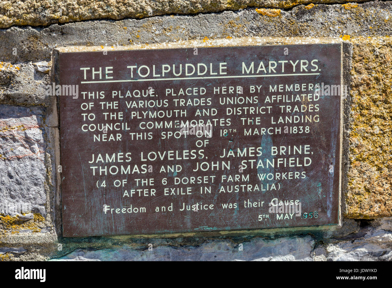 Sign plaque commemorating the Tolpuddle Martyrs beside the Mayflower Steps, at Barbican Wharves, Plymouth Harbour, - Stock Image