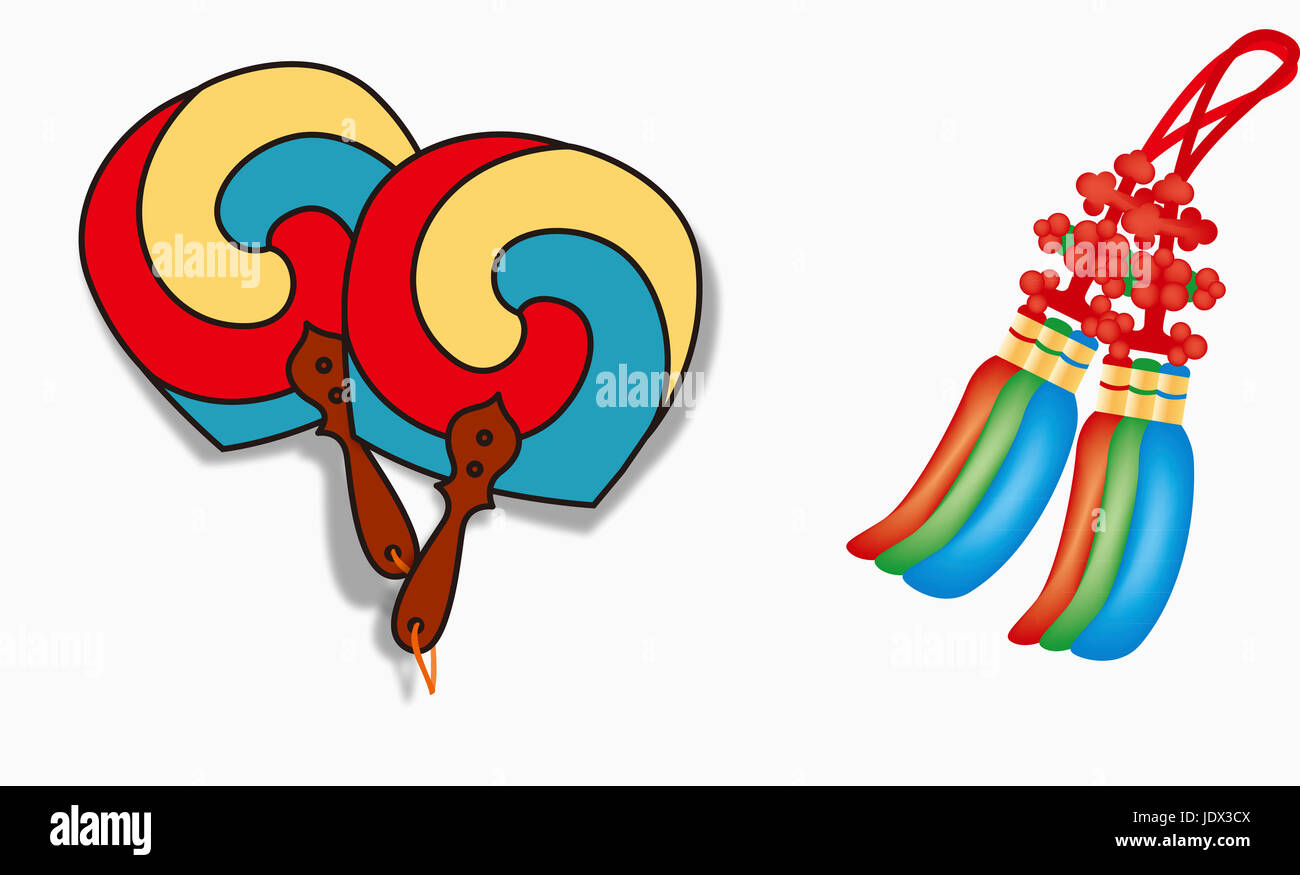 korean festival days fanfolding fan - Stock Image