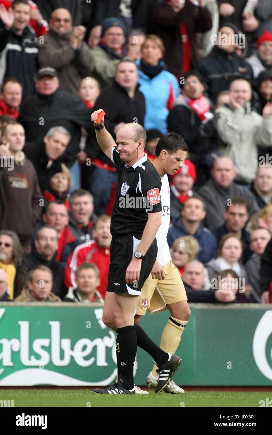 ALIADIERE IS SENT OFF LIVERPOOL V MIDDLESBROUGH ANFIELD LIVERPOOL ENGLAND 23 February 2008 - Stock Image