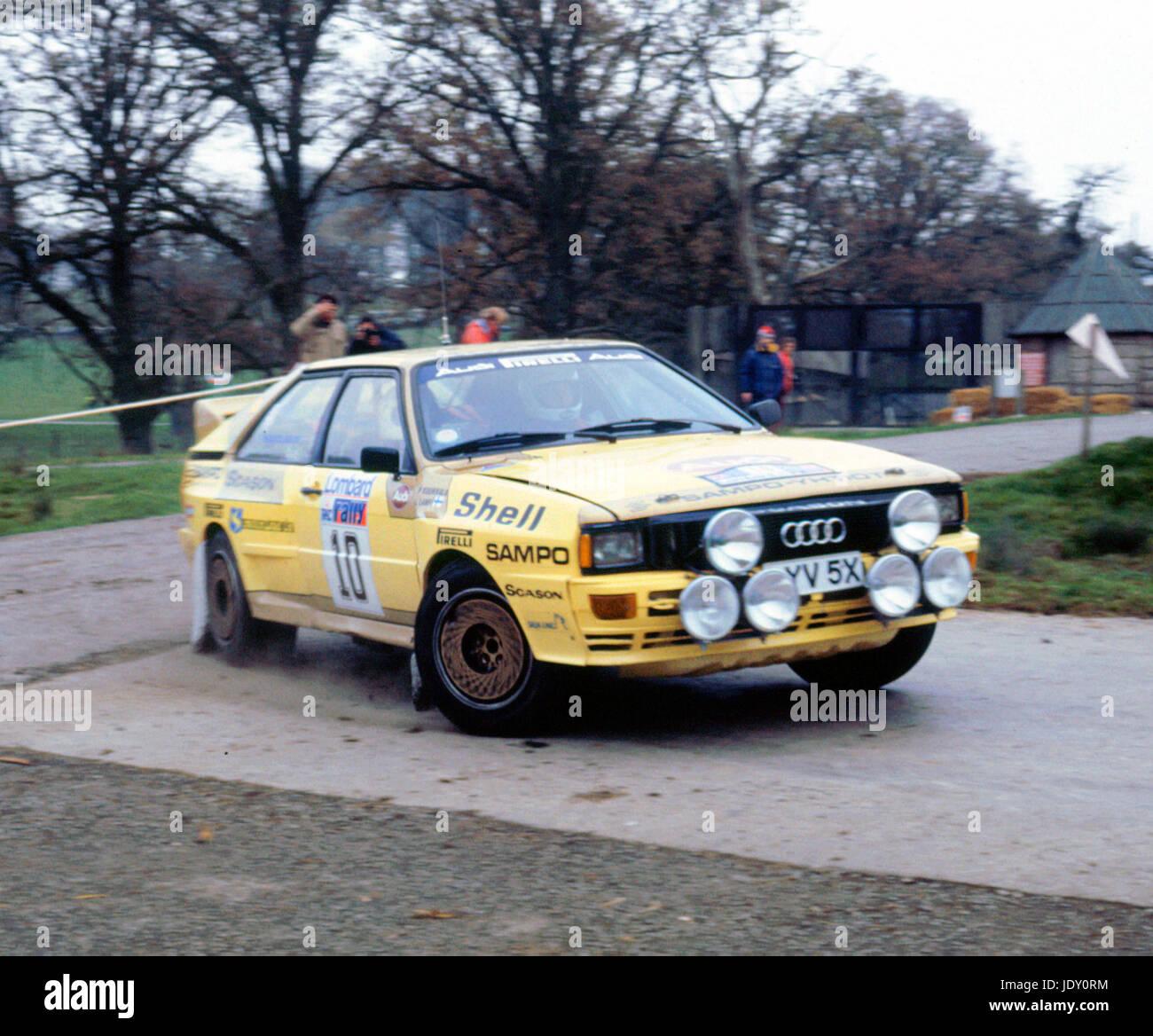 Audi Quattro A2, Lasse Lampi. 1983 RAC Rally Stock Photo