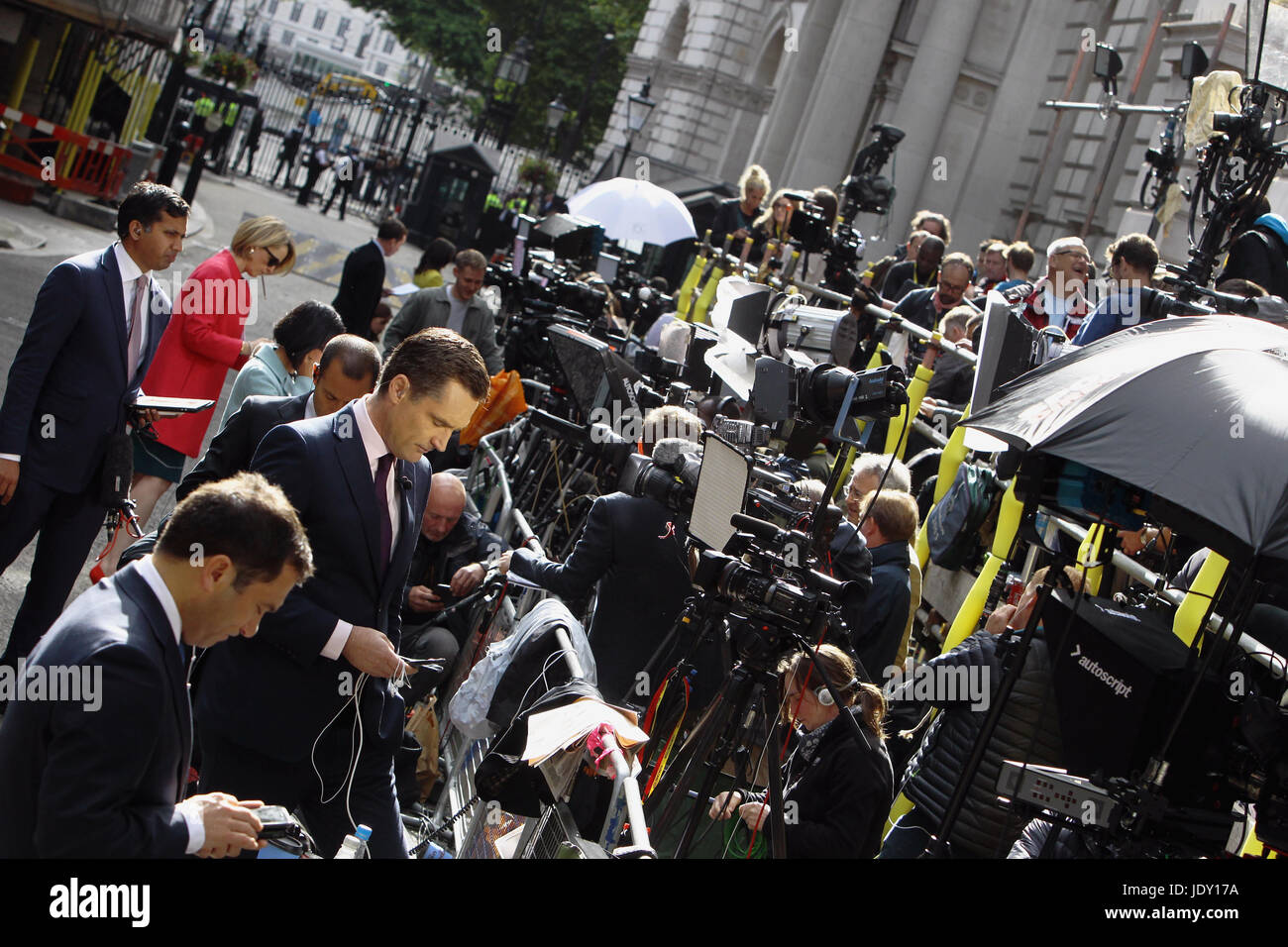 Politics, Media, Communications, Press hoards on gantry in Downing Street during 2017 General Election. - Stock Image