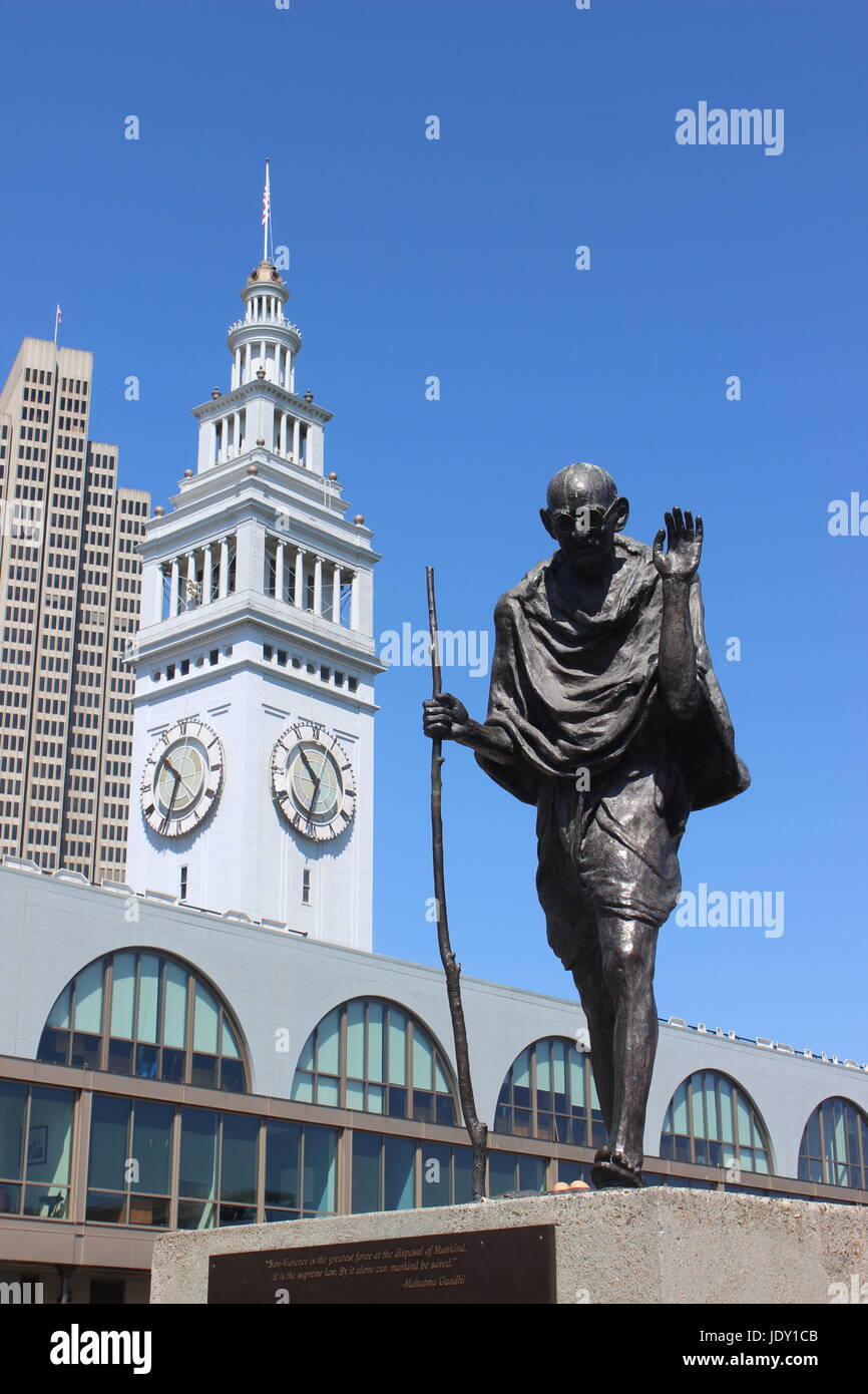 Mohandes K. Gandhi Statue, Ferry Building, San Francisco, California - Stock Image