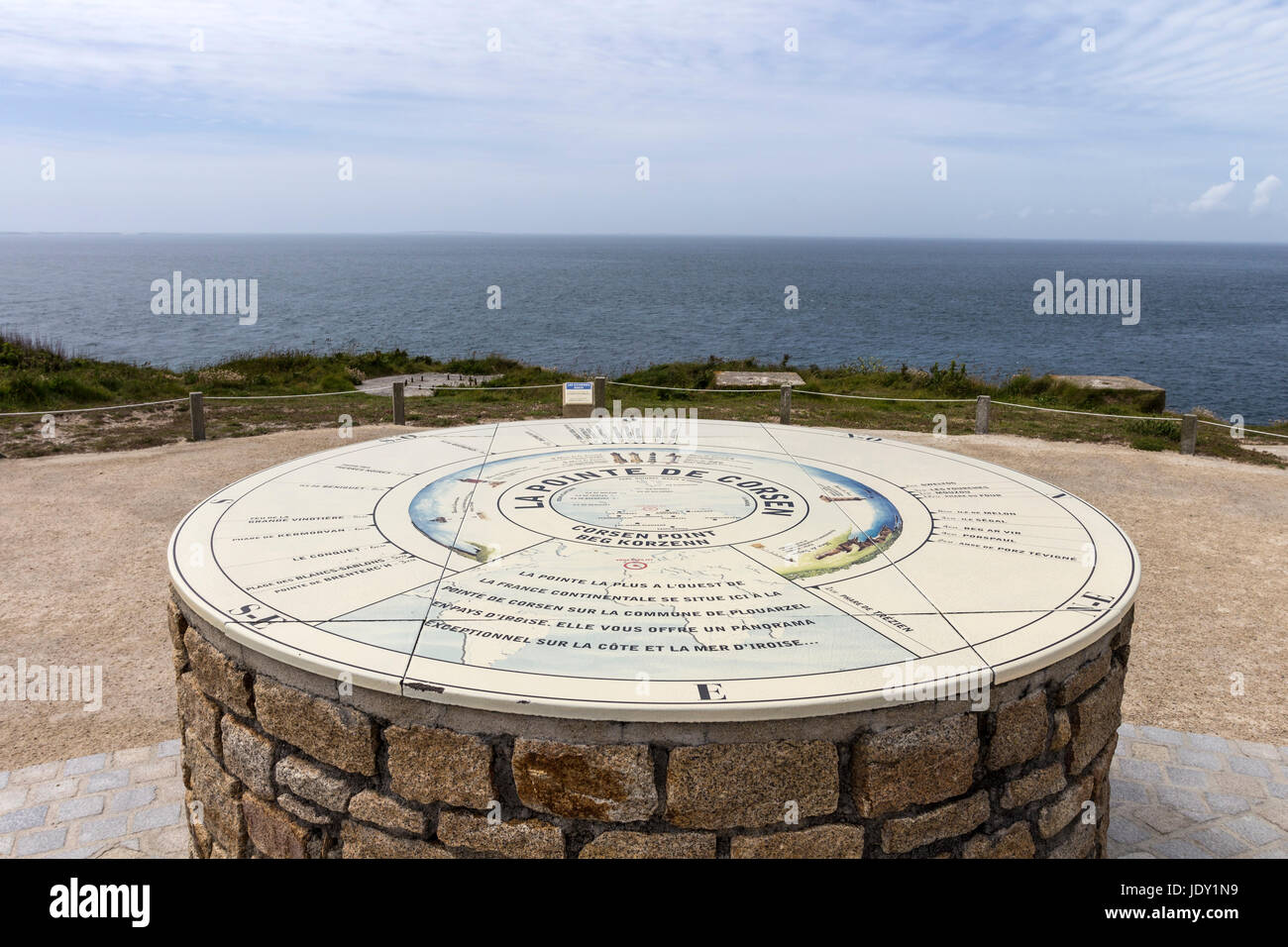 Interpretation Table on the Pointe de Corsen Near Plouarazel, Finistere, Brittany, the Westernmost Point of Continental - Stock Image