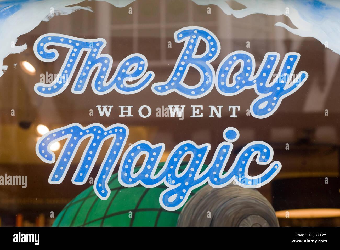 the boy who went magic window display - Stock Image