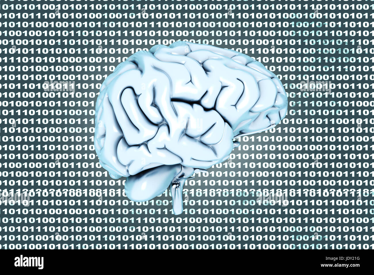Artificial intelligence and coded brain. 3D rendered Illustration. Stock Photo