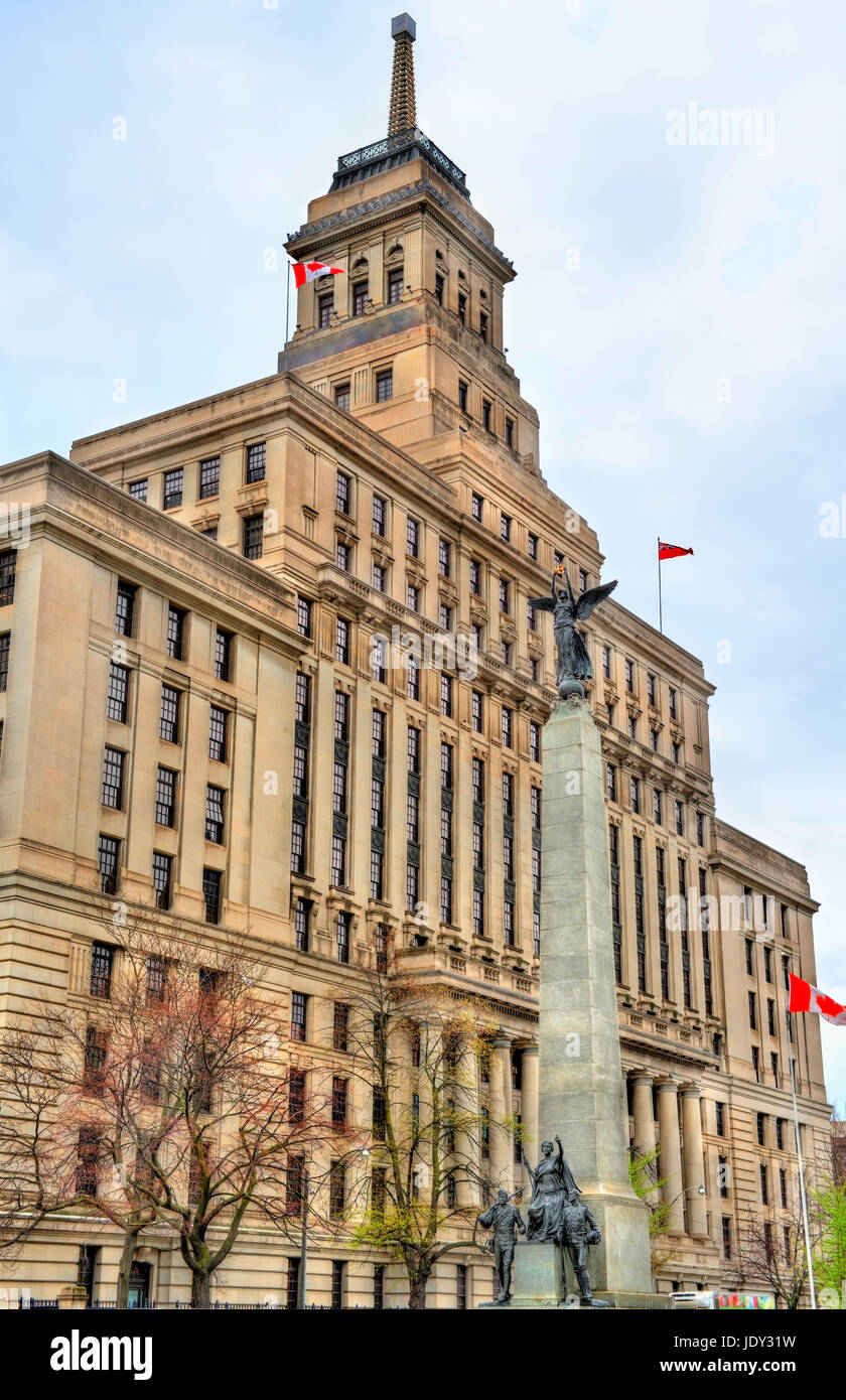 The Canada Life building and the South African War Memorial on University Avenue in Toronto, Canada - Stock Image