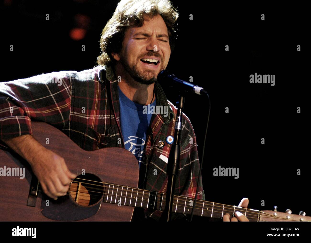 Eddie Vedder of Pearl Jam performs a solo acoustic set at the Bridge