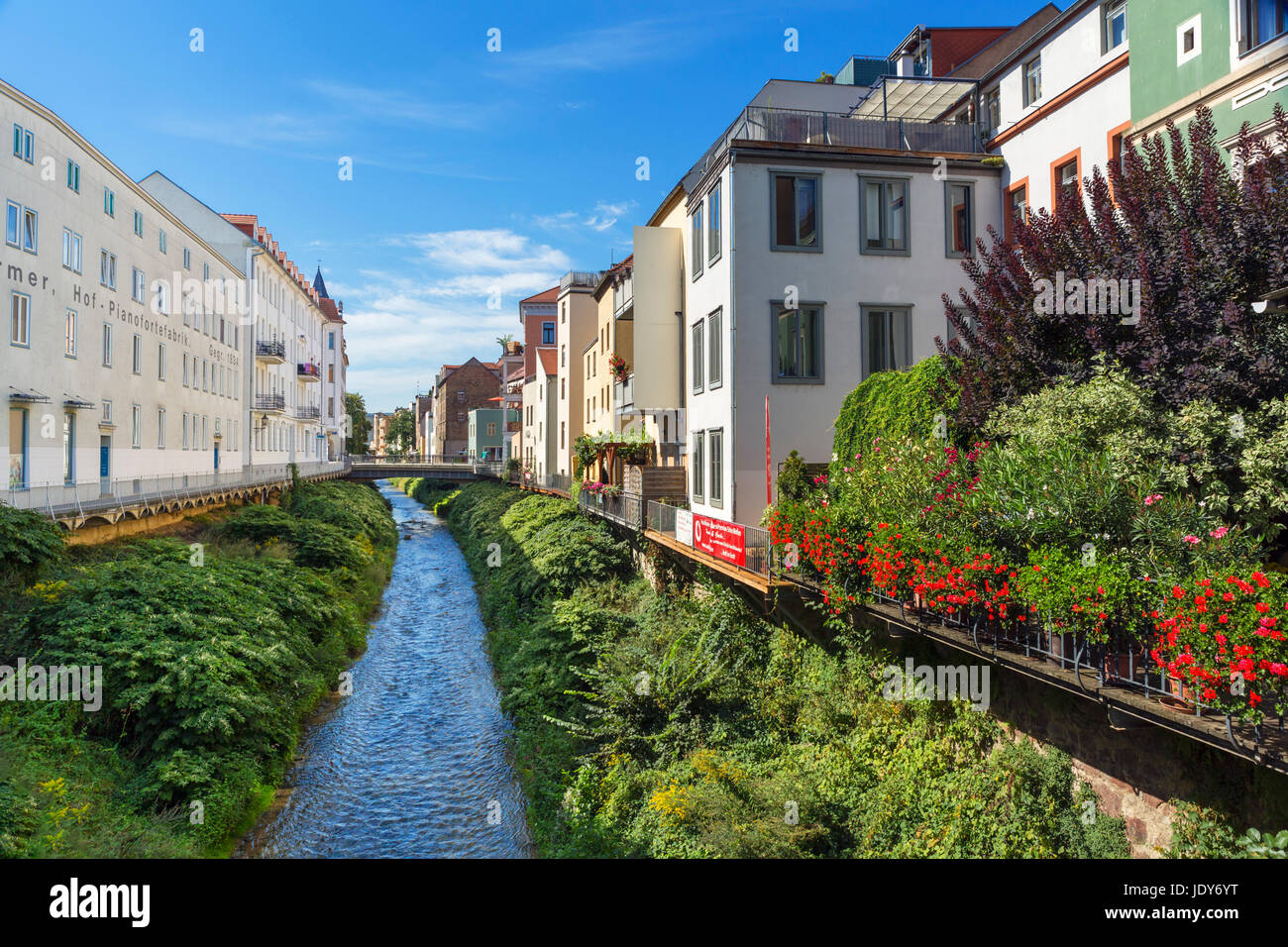Stream in the town centre, Meissen, Saxony, Germany - Stock Image