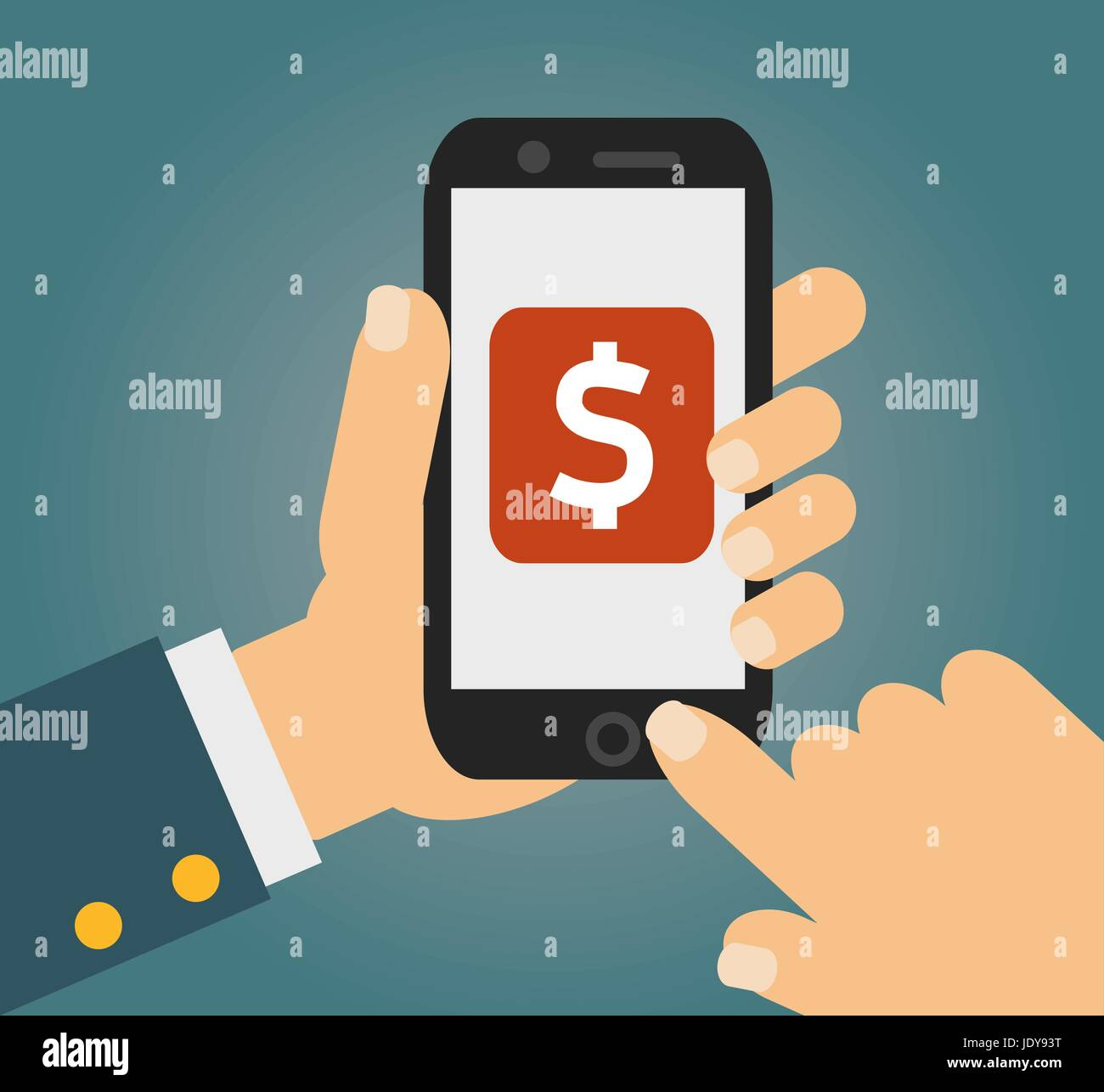 Hand touching smartphone with dollar sign on the screen. Using mobile smart phone similar to iphon, flat design - Stock Vector