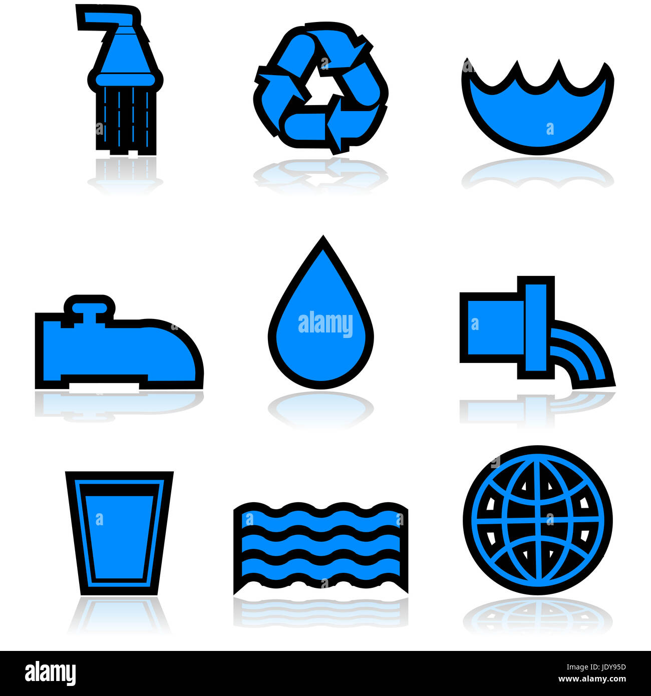 Icon set showing different elements normally associated with water - Stock Image