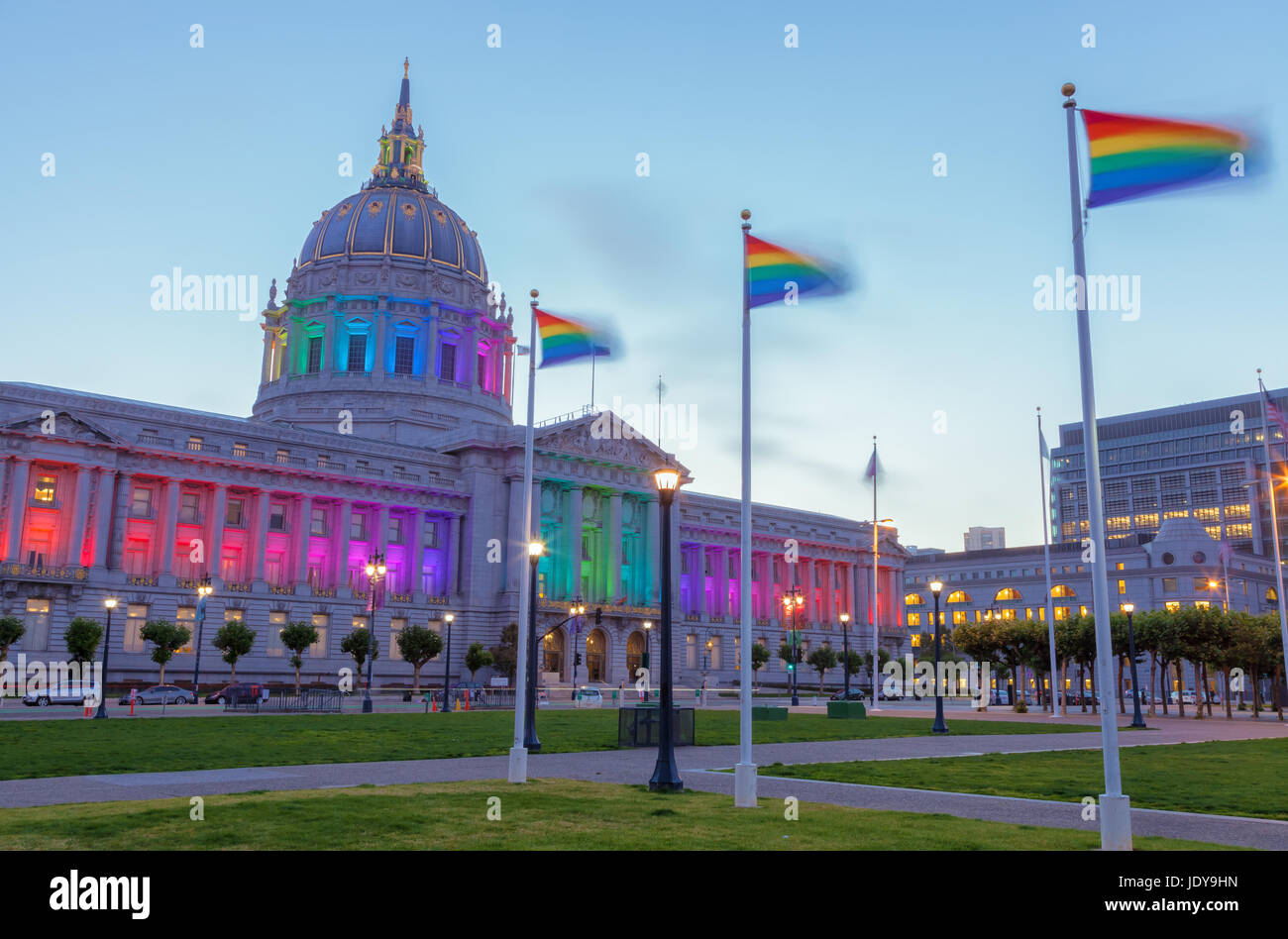San Francisco City Hall lights up to celebrate the LGBTQ pride month - Stock Image