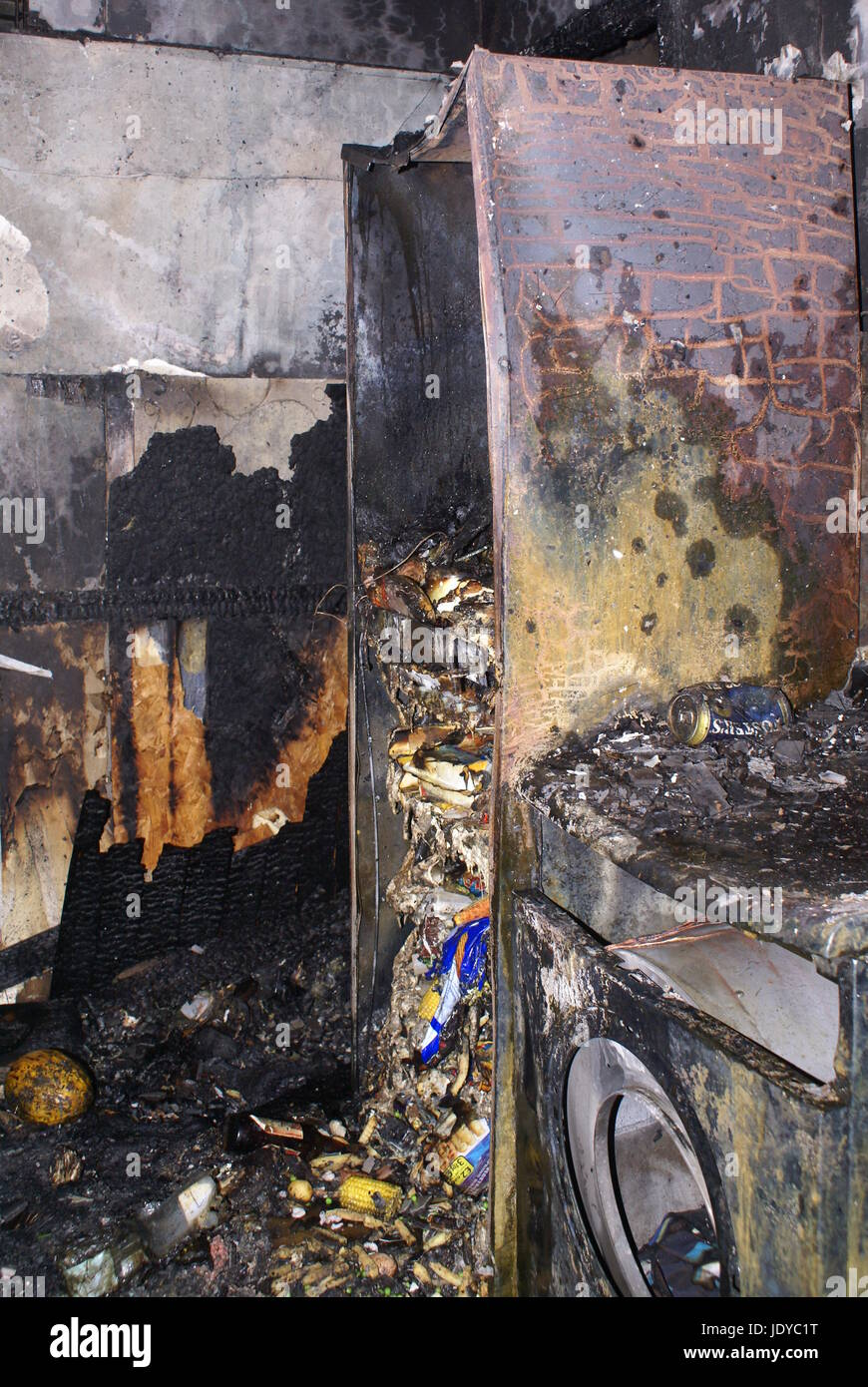 high rise flat fire, inferno, fridge fire, London - Stock Image
