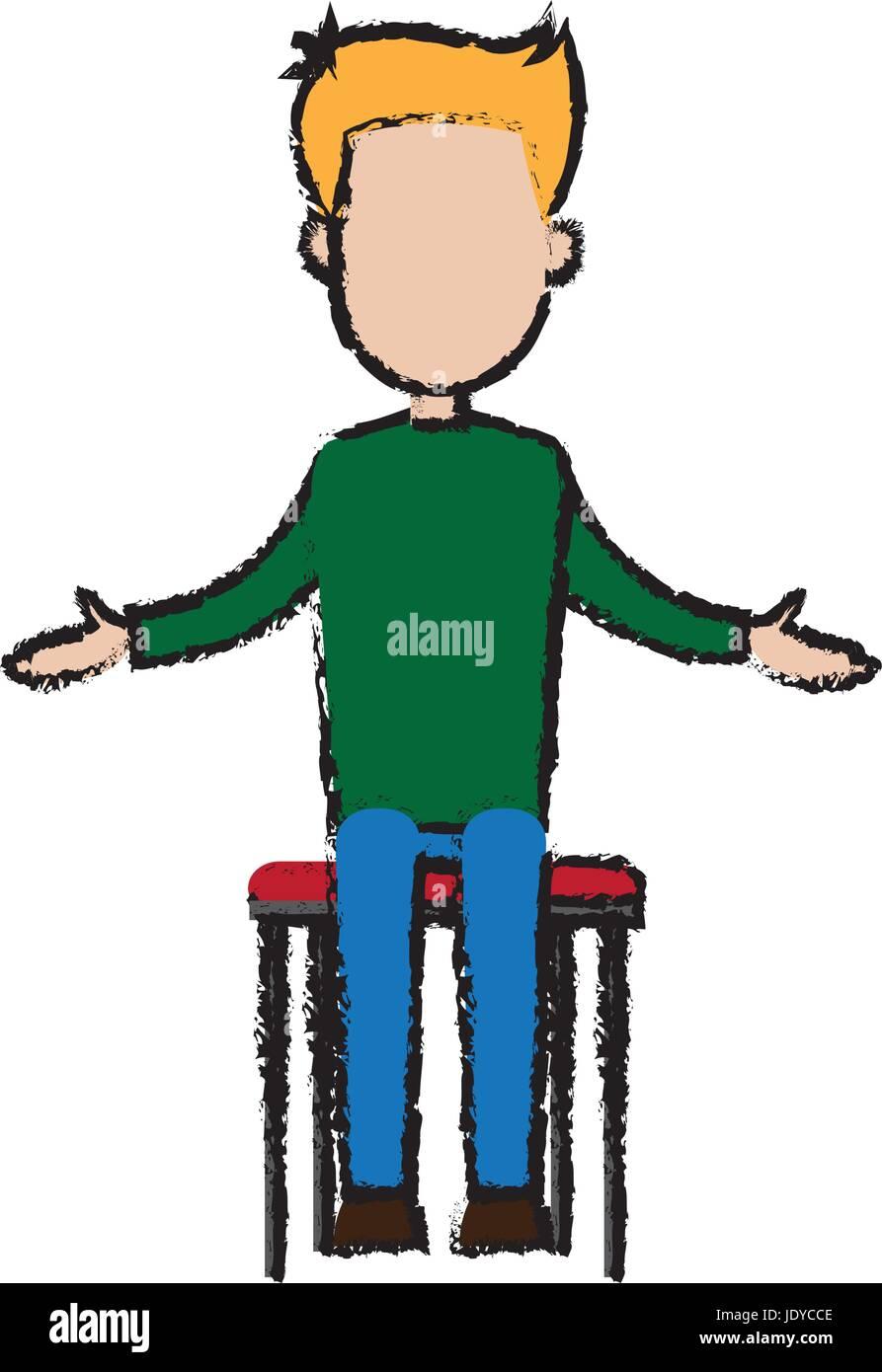 Businessman Sitting Office Chair Cartoon Calm Pose Stock