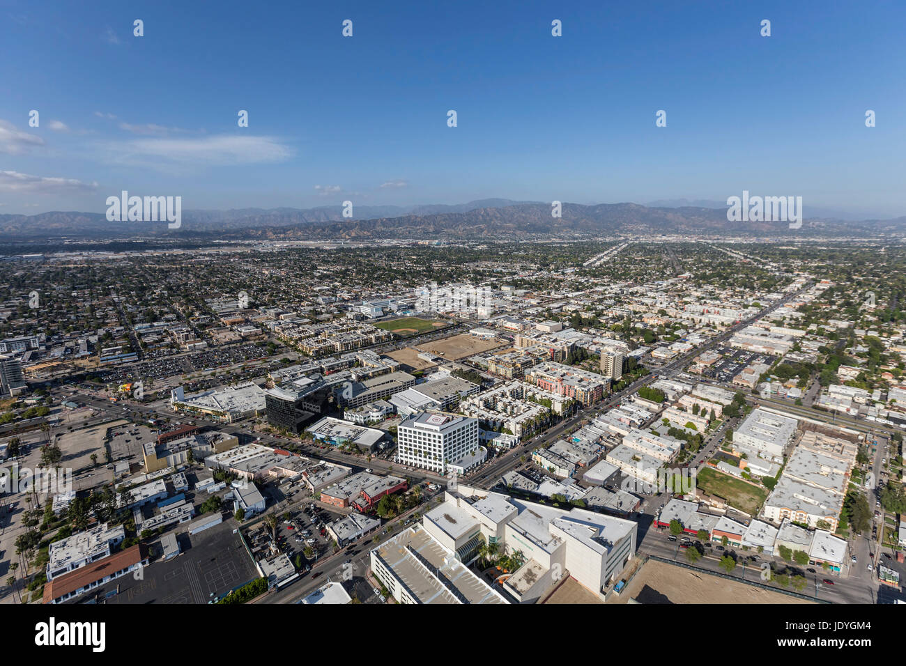 Aerial view of North Hollywood in the San Fernando Valley