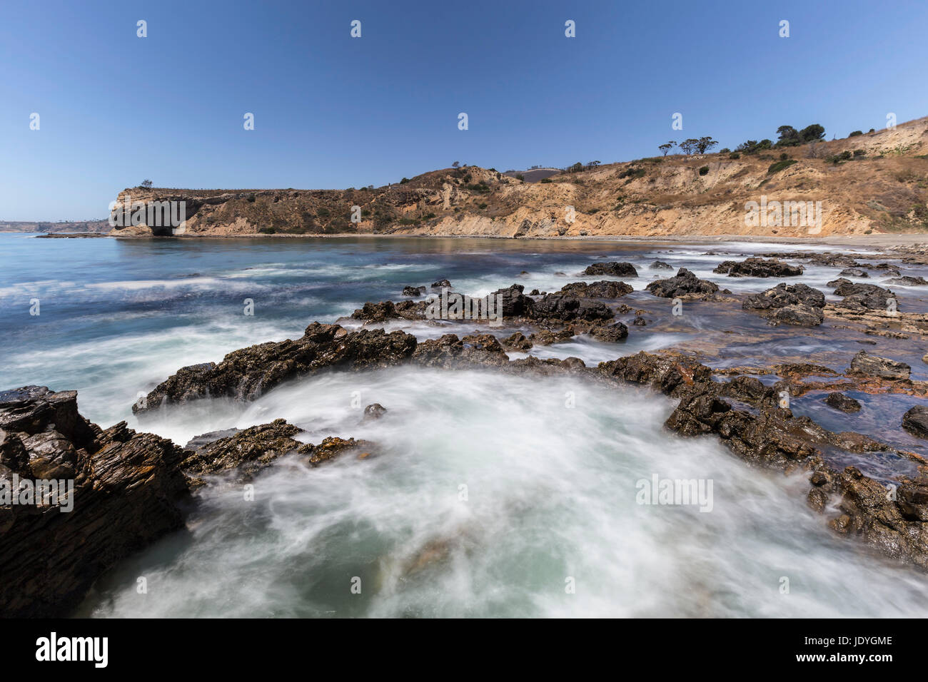 Tidal pool motion blur water at Abalone Cove Shoreline Park in Southern California. - Stock Image