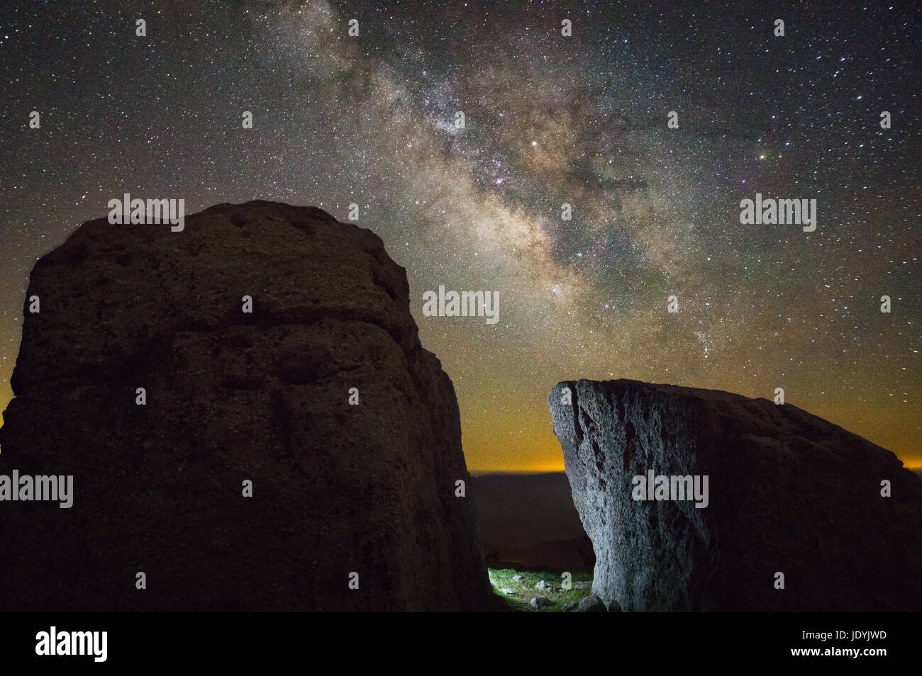 Ancient boulders litter the fields atop Spruce Knob, West Virginia's highest point, the Milky Way and stars - Stock Image