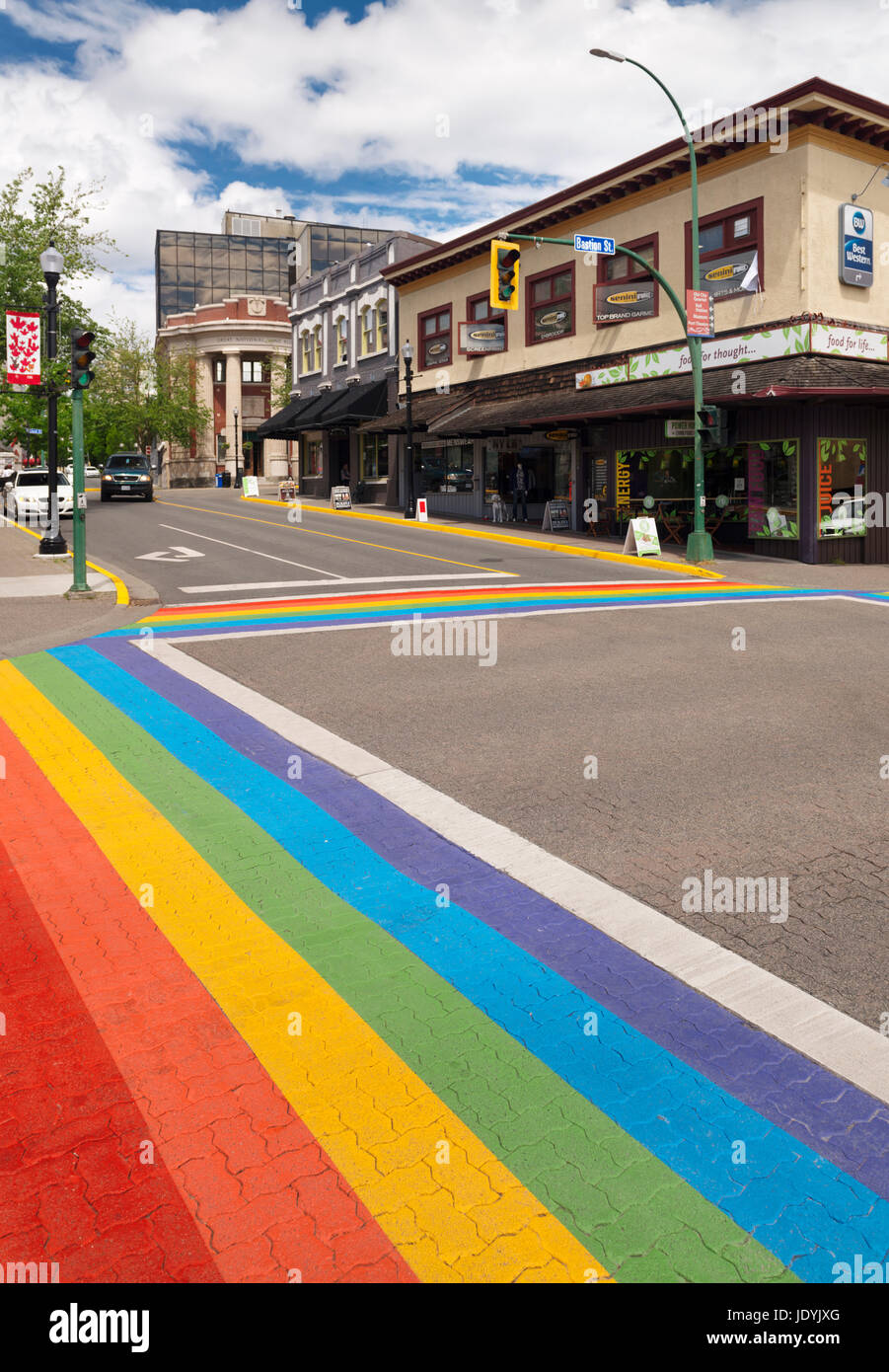 Nanaimo city downtown colorful rainbow crosswalk at Bastion and Commercial streets. Vancouver Island, British Columbia, - Stock Image