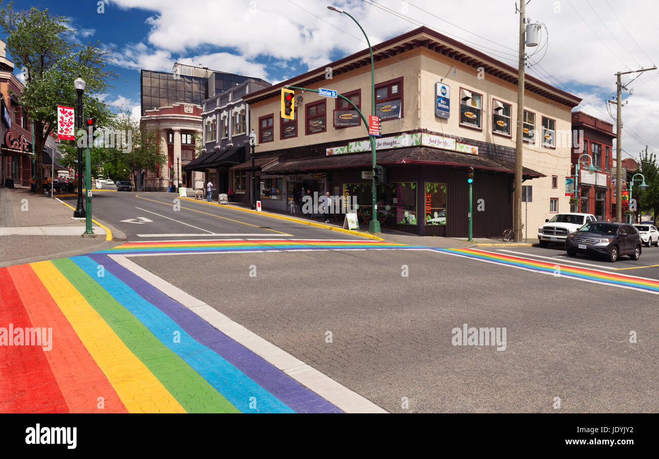 Nanaimo city downtown rainbow crosswalk at Bastion and Commercial streets. Vancouver Island, British Columbia, Canada - Stock Image